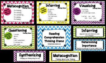 Comprehension Thinking Stems Posters- Chevron Theme