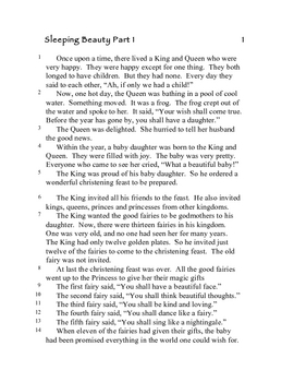 Comprehension Through Grammar Sleeping Beauty 1A About Text T