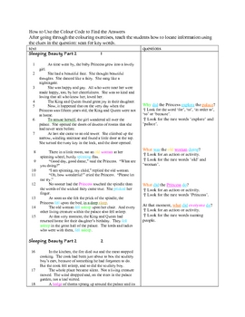 Comprehension Through Grammar Sleeping Beauty 2A About Text T