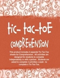 Comprehension Tic-Tac-Toe Independent Activities