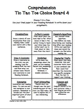 Comprehension Tic-Tac-Toe Menu Number 4