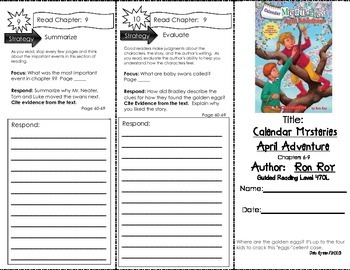 Comprehension Tri-Fold - Calendar Mysteries April Adventure by Ron Roy
