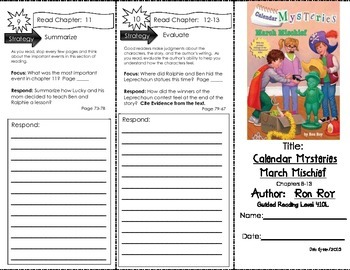 Comprehension Tri-Fold - Calendar Mysteries March Mischief by Ron Roy
