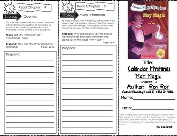 Comprehension Tri-Fold - Calendar Mysteries May Magic by Ron Roy