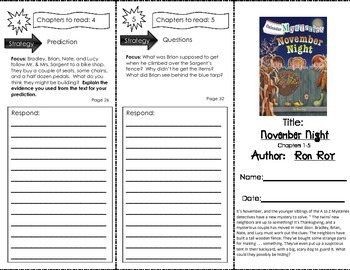 Comprehension Tri-Fold - Calendar Mysteries November Night,  by Ron Roy