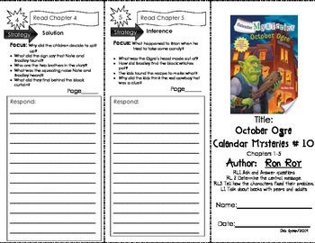 Comprehension Tri-Fold - Calendar Mysteries October Ogre, by Ron Roy