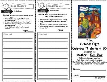 Comprehension Tri-Fold - Calendar Mysteries October Ogre, by Ron Roy