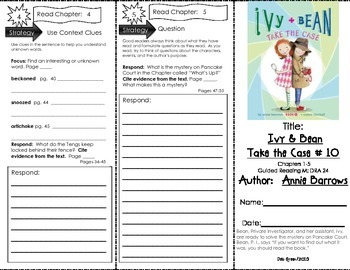 Comprehension Tri-Fold - Ivy & Bean Take the Case by Annie Barrows