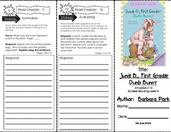 Comprehension Tri-Fold - Junie B. 1st Grader Dumb Bunny by Barbara Parks