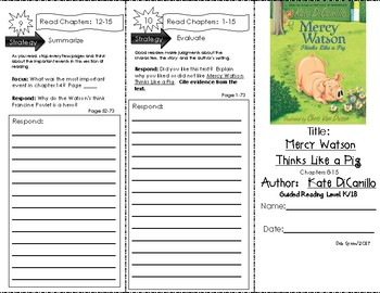 Comprehension Trifold - Mercy Watson Thinks Like a Pig, by Kate DiCamillo