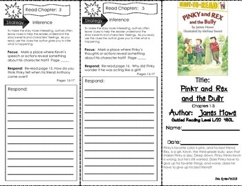 Comprehension Tri-Fold - Pinky and Rex and the Bully, by James Howe