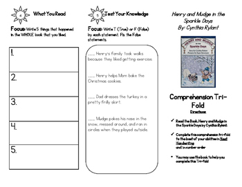 Comprehension Tri-fold: Henry and Mudge in the Sparkle Days