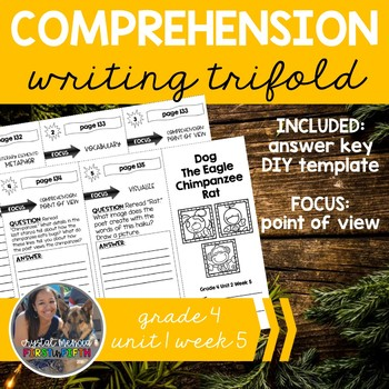 Comprehension Trifold: Dog Eagle Chimpanzee Rat Poetry - Grade 4 Unit 2 Week 5