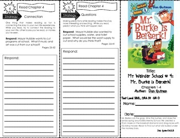 Comprehension Trifold: My Weirder School #4, Mr. Burke is Berserk! by Dan Gutman