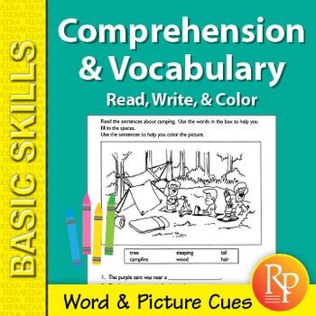 Comprehension & Vocabulary: Read, Write, & Color