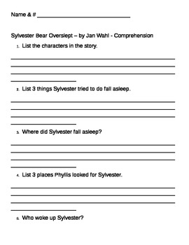 Comprehension & Vocabulary activities for Sylvester Overslept
