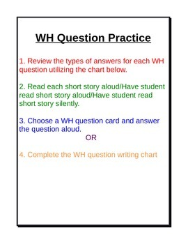 Comprehension: WH Question Practice