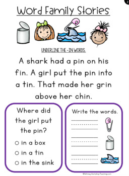 Comprehension Word Family Stories - Paperless Daily Warm Up Lessons
