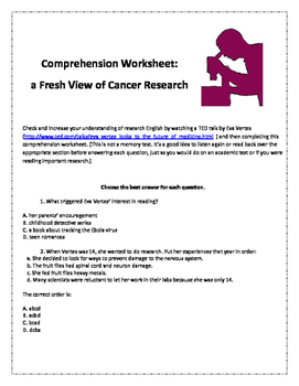 Comprehension Worksheet for the TED talk by Eva Vertes on Cancer Research