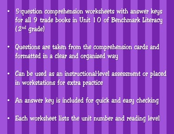 Comprehension Worksheets for Benchmark Literacy - Grade 2, Unit 10