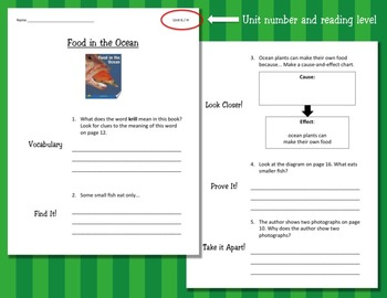 Comprehension Worksheets for Benchmark Literacy - Grade 2, Unit 6