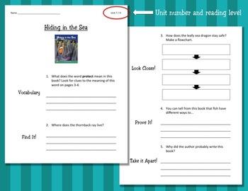 Comprehension Worksheets for Benchmark Literacy - Grade 2, Unit 7