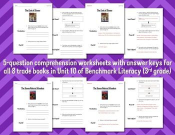 Comprehension Worksheets for Benchmark Literacy - Grade 3, Unit 10