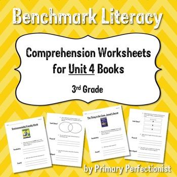 Comprehension Worksheets for Benchmark Literacy - Grade 3, Unit 4