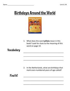 Comprehension Worksheets for Benchmark Literacy - Grade 3, Unit 6