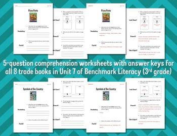 Comprehension Worksheets for Benchmark Literacy - Grade 3, Unit 7