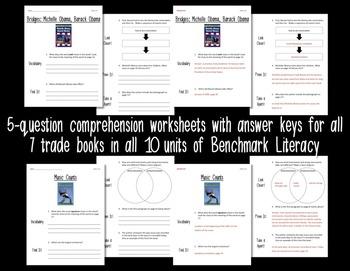 Comprehension Worksheets for Benchmark Literacy - Grade 4 BUNDLE, Units 1-10