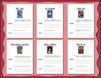 Comprehension Worksheets for Benchmark Literacy - Grade 4, Unit 1