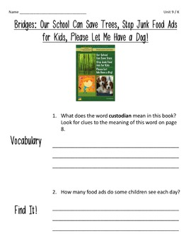 Comprehension Worksheets for Benchmark Literacy - Grade 4, Unit 9