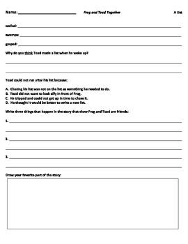 Comprehension Worksheets for Frog and Toad Together