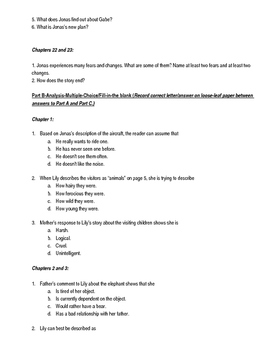 Comprehension and Analysis Questions for The Giver