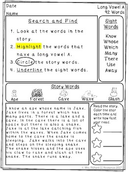 Reading Comprehension Passages and Questions: Long Vowels