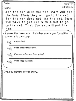 Reading Comprehension Passages and Questions: Short Vowels
