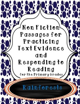 Non-Fiction Comprehension and Fluency Short Stories-Rainforests
