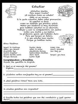 Spanish I Comprehension and Grammar Reading