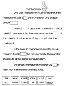 Comprehension and Sight Words--Halloween