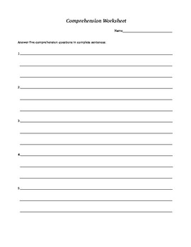 Comprehension and Vocab Worksheets