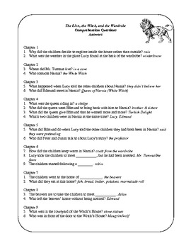 Comprehension and Vocabulary Sheets for The Lion, the Witch, and the Wardrobe