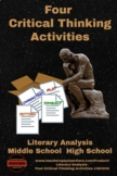 Literary Analysis - Four Critical Thinking Activities