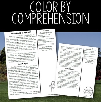 "Comprehension by Color- ""Becoming President"" Article and Activities"