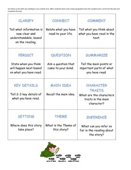Comprehension cards and writing pages, great for a Writing Center!