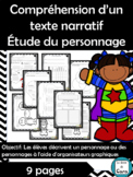 Compréhension d'un texte narratif -Étude du personnage - 9 FICHES