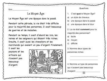 Compréhension de Lecture - le Moyen Âge