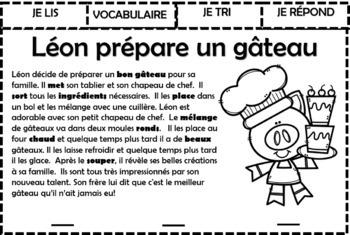 Compréhension de la lecture - Léon prépare un gâteau