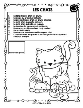 Compréhension de lecture et Colorie l'image - LES ANIMAUX