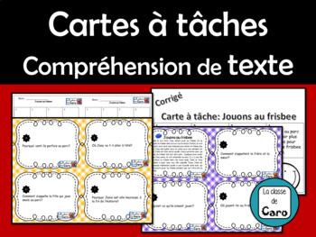 Compréhension de texte - Cartes à tâches - Jouons au frisbee